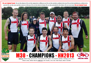 England Touch - Mens 30s division champions